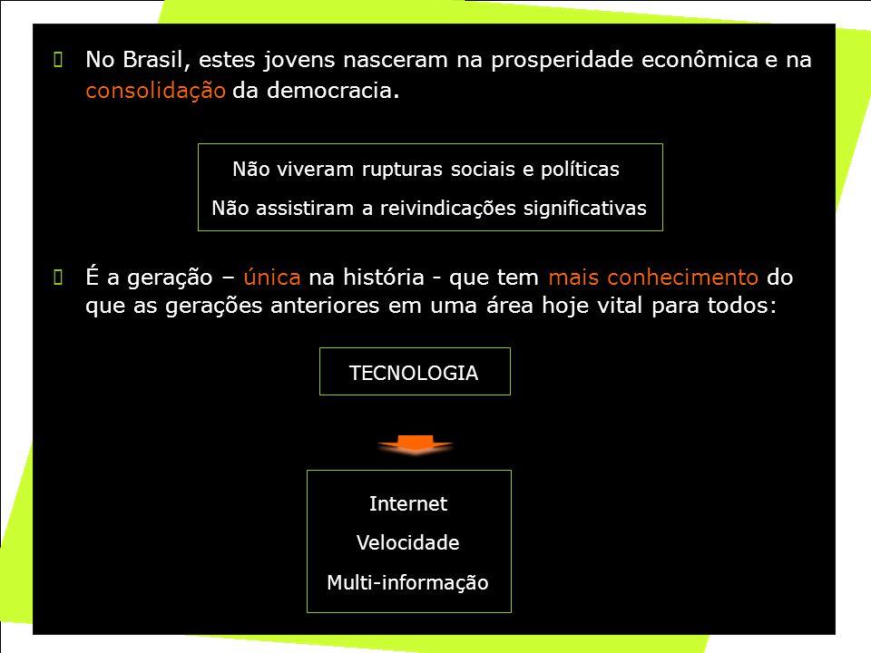 13 No Brasil, estes jovens nasceram na prosperidade econômica e na consolidação da democracia. Não viveram rupturas sociais e políticas Não assistiram