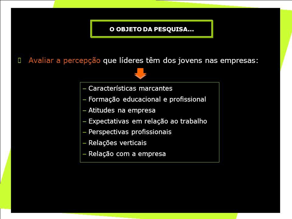 2 Avaliar a percepção que líderes têm dos jovens nas empresas: O OBJETO DA PESQUISA... – Características marcantes – Formação educacional e profission