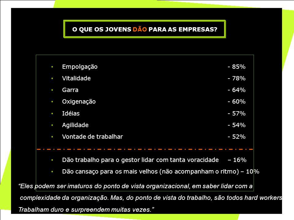 24 • Empolgação- 85% • Vitalidade- 78% • Garra- 64% • Oxigenação- 60% • Idéias- 57% • Agilidade- 54% • Vontade de trabalhar- 52% • Dão trabalho para o