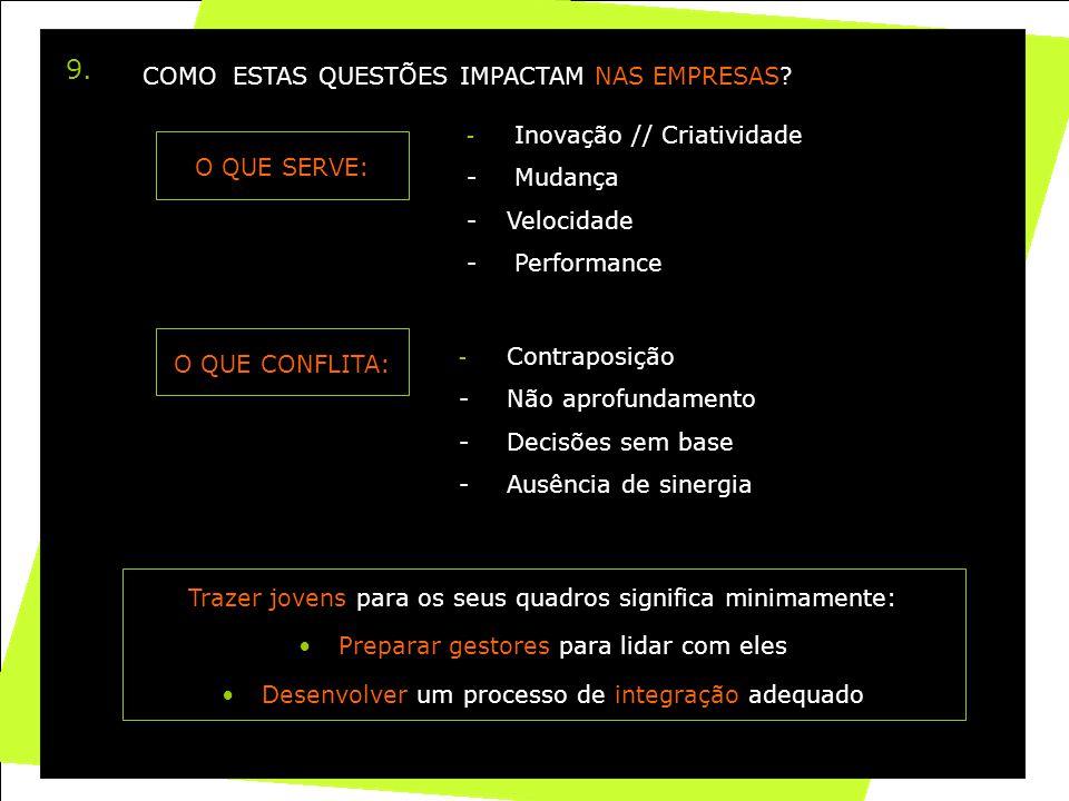 37 9. O QUE SERVE: - Inovação // Criatividade - Mudança -Velocidade - Performance O QUE CONFLITA: - Contraposição - Não aprofundamento - Decisões sem