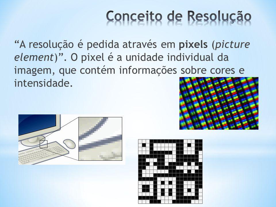 """""""A resolução é pedida através em pixels (picture element)"""". O pixel é a unidade individual da imagem, que contém informações sobre cores e intensidade"""