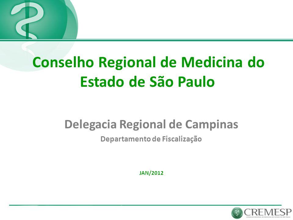 Delegacia Regional de Campinas Departamento de Fiscalização JAN/2012 Conselho Regional de Medicina do Estado de São Paulo