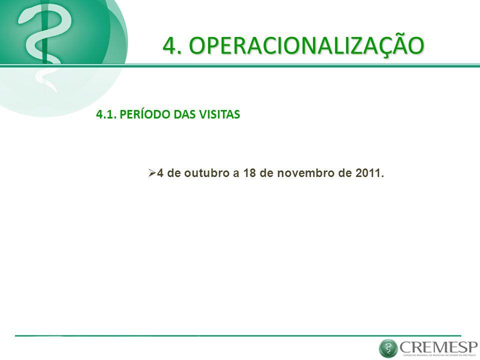 4. OPERACIONALIZAÇÃO 4.1. PERÍODO DAS VISITAS  4 de outubro a 18 de novembro de 2011.