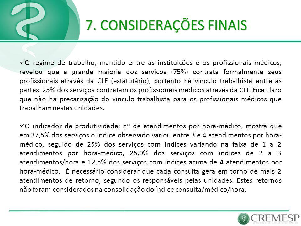 7. CONSIDERAÇÕES FINAIS  O regime de trabalho, mantido entre as instituições e os profissionais médicos, revelou que a grande maioria dos serviços (7