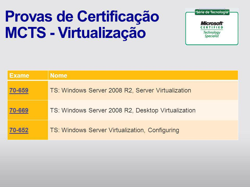 ExameNome 70-659TS: Windows Server 2008 R2, Server Virtualization 70-669TS: Windows Server 2008 R2, Desktop Virtualization 70-652TS: Windows Server Vi