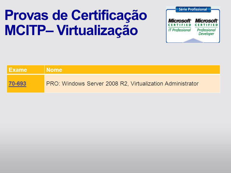 ExameNome 70-693PRO: Windows Server 2008 R2, Virtualization Administrator