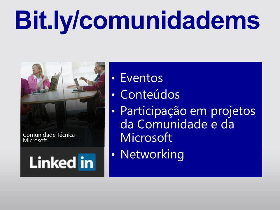 • Eventos • Conteúdos • Participação em projetos da Comunidade e da Microsoft • Networking