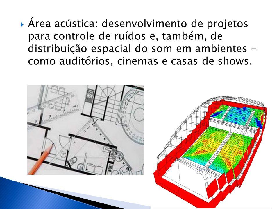  Área acústica: desenvolvimento de projetos para controle de ruídos e, também, de distribuição espacial do som em ambientes - como auditórios, cinema