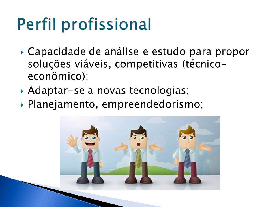  Capacidade de análise e estudo para propor soluções viáveis, competitivas (técnico- econômico);  Adaptar-se a novas tecnologias;  Planejamento, em