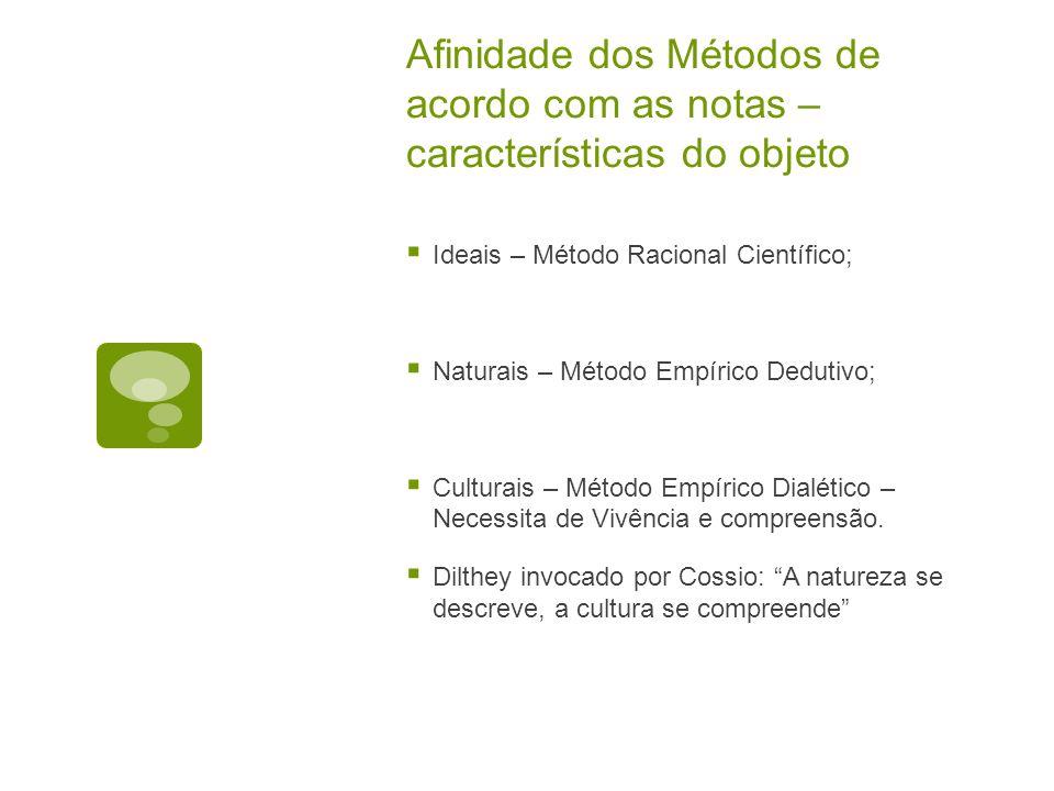 Afinidade dos Métodos de acordo com as notas – características do objeto  Ideais – Método Racional Científico;  Naturais – Método Empírico Dedutivo;  Culturais – Método Empírico Dialético – Necessita de Vivência e compreensão.