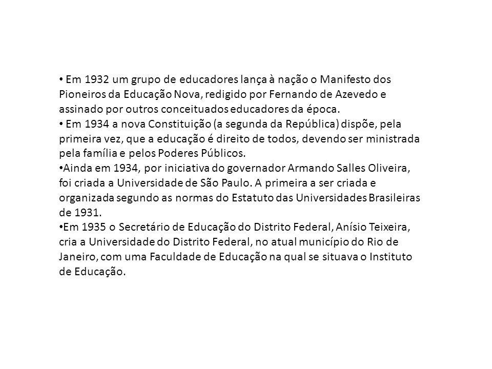 • Em 1932 um grupo de educadores lança à nação o Manifesto dos Pioneiros da Educação Nova, redigido por Fernando de Azevedo e assinado por outros conc