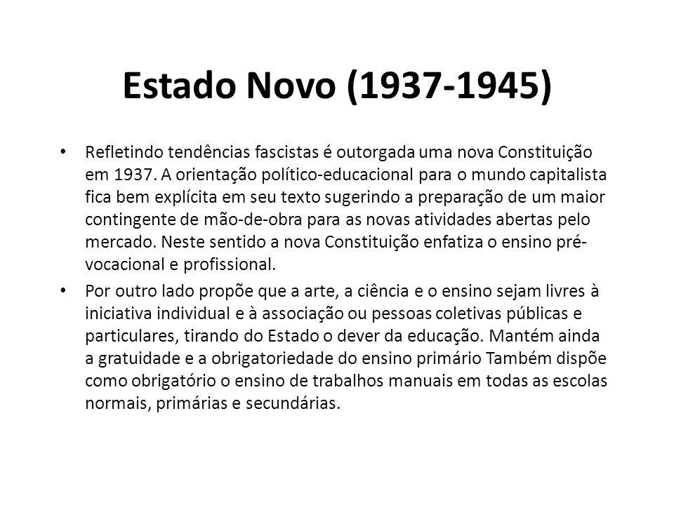 Estado Novo (1937-1945) • Refletindo tendências fascistas é outorgada uma nova Constituição em 1937. A orientação político-educacional para o mundo ca