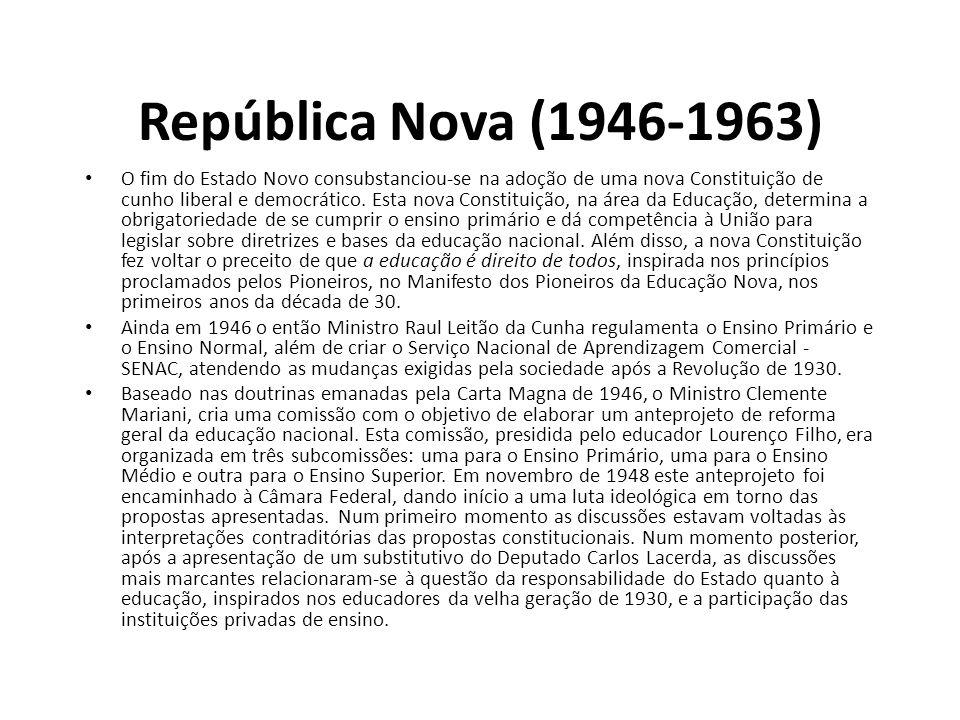 República Nova (1946-1963) • O fim do Estado Novo consubstanciou-se na adoção de uma nova Constituição de cunho liberal e democrático. Esta nova Const