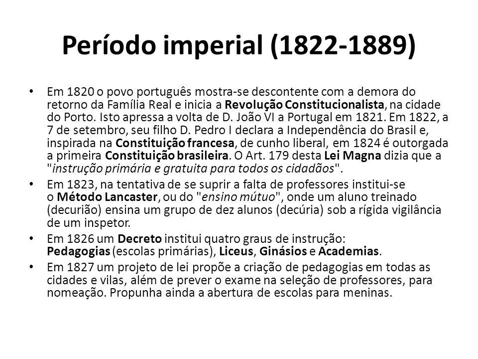 Período imperial (1822-1889) • Em 1820 o povo português mostra-se descontente com a demora do retorno da Família Real e inicia a Revolução Constitucionalista, na cidade do Porto.
