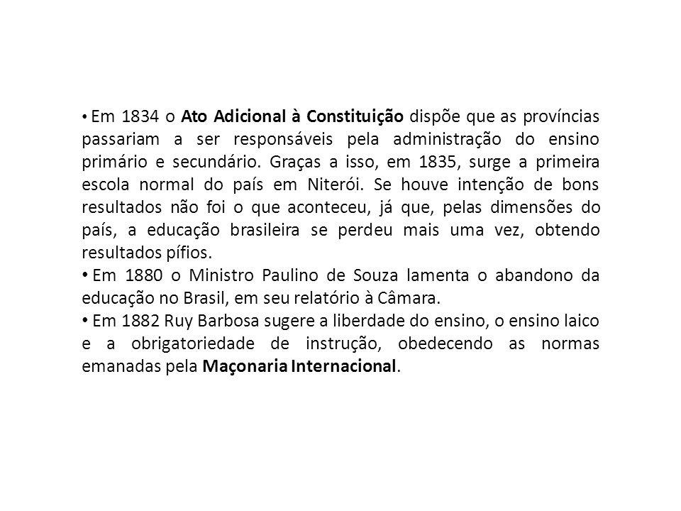 • Em 1834 o Ato Adicional à Constituição dispõe que as províncias passariam a ser responsáveis pela administração do ensino primário e secundário.