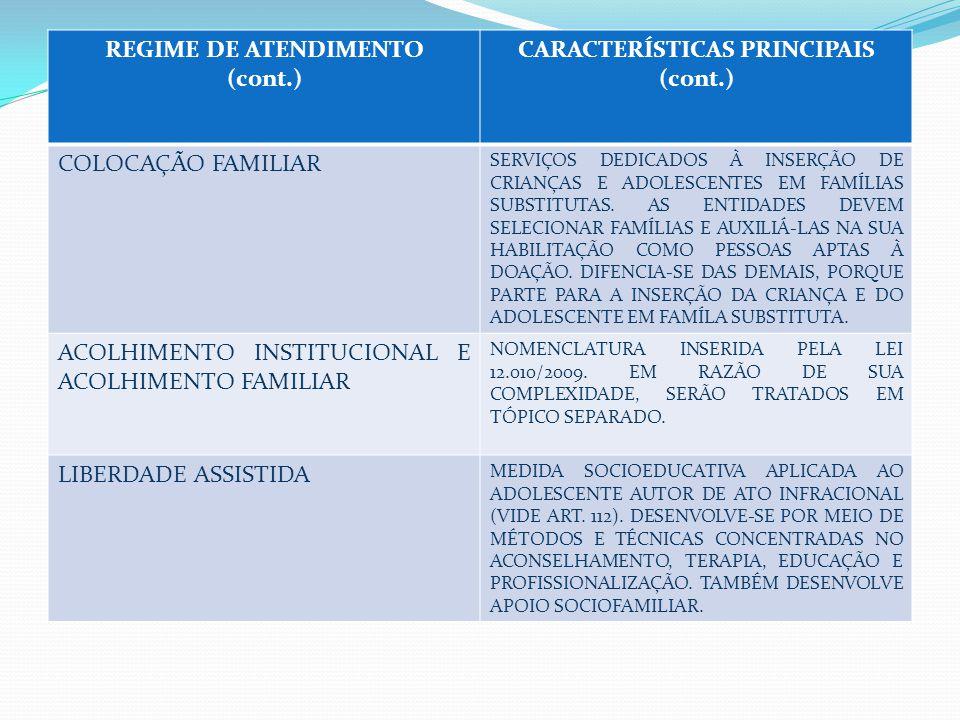 REGIME DE ATENDIMENTO (cont.) CARACTERÍSTICAS PRINCIPAIS (cont.) COLOCAÇÃO FAMILIAR SERVIÇOS DEDICADOS À INSERÇÃO DE CRIANÇAS E ADOLESCENTES EM FAMÍLIAS SUBSTITUTAS.