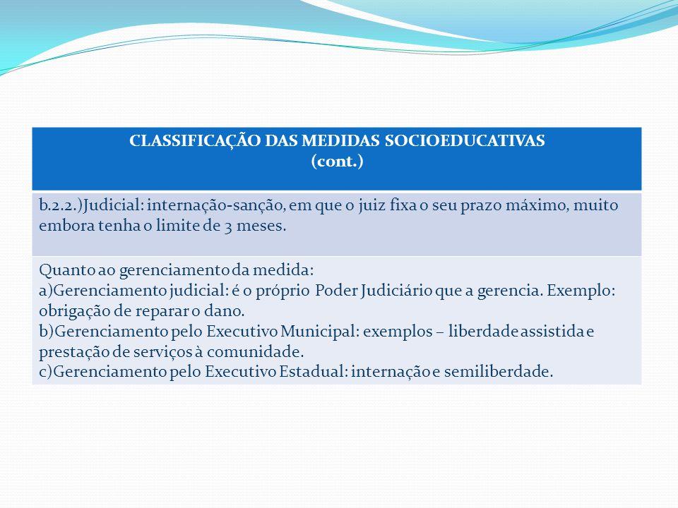 CLASSIFICAÇÃO DAS MEDIDAS SOCIOEDUCATIVAS (cont.) b.2.2.)Judicial: internação-sanção, em que o juiz fixa o seu prazo máximo, muito embora tenha o limite de 3 meses.