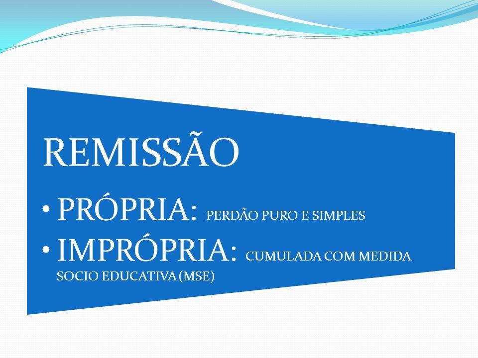 •PRÓPRIA: PERDÃO PURO E SIMPLES •IMPRÓPRIA: CUMULADA COM MEDIDA SOCIO EDUCATIVA (MSE)