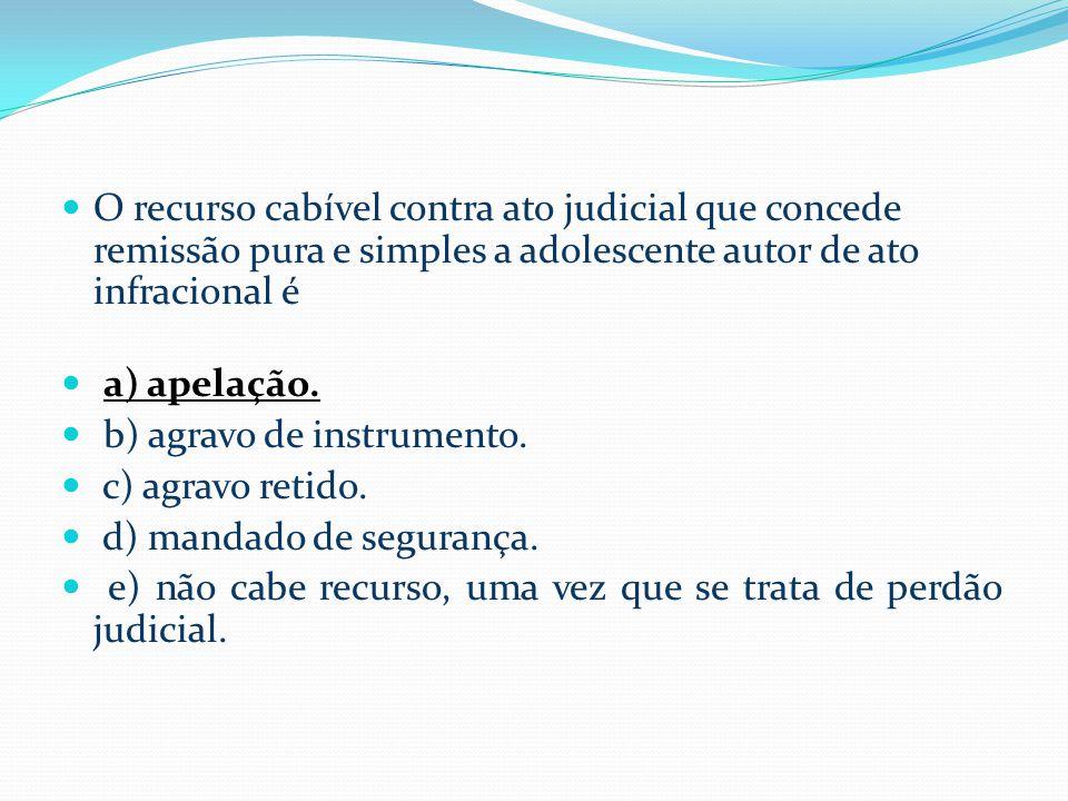  O recurso cabível contra ato judicial que concede remissão pura e simples a adolescente autor de ato infracional é  a) apelação.