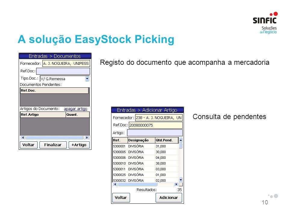 10 A solução EasyStock Picking Registo do documento que acompanha a mercadoria Consulta de pendentes