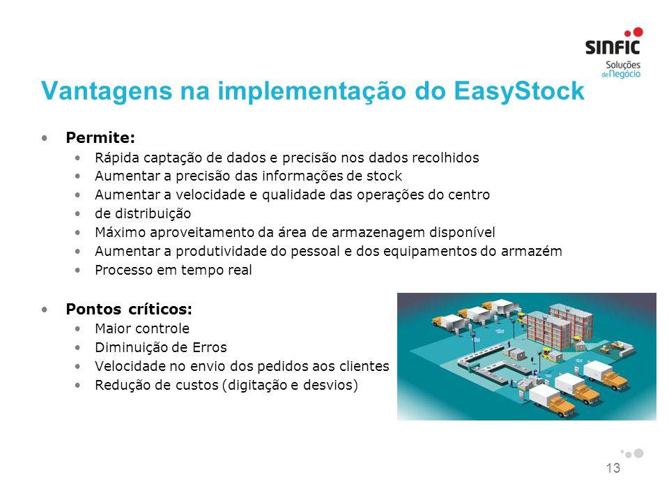 13 Vantagens na implementação do EasyStock •Permite: •Rápida captação de dados e precisão nos dados recolhidos •Aumentar a precisão das informações de