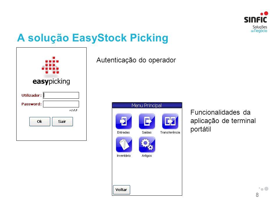 8 A solução EasyStock Picking Autenticação do operador Funcionalidades da aplicação de terminal portátil