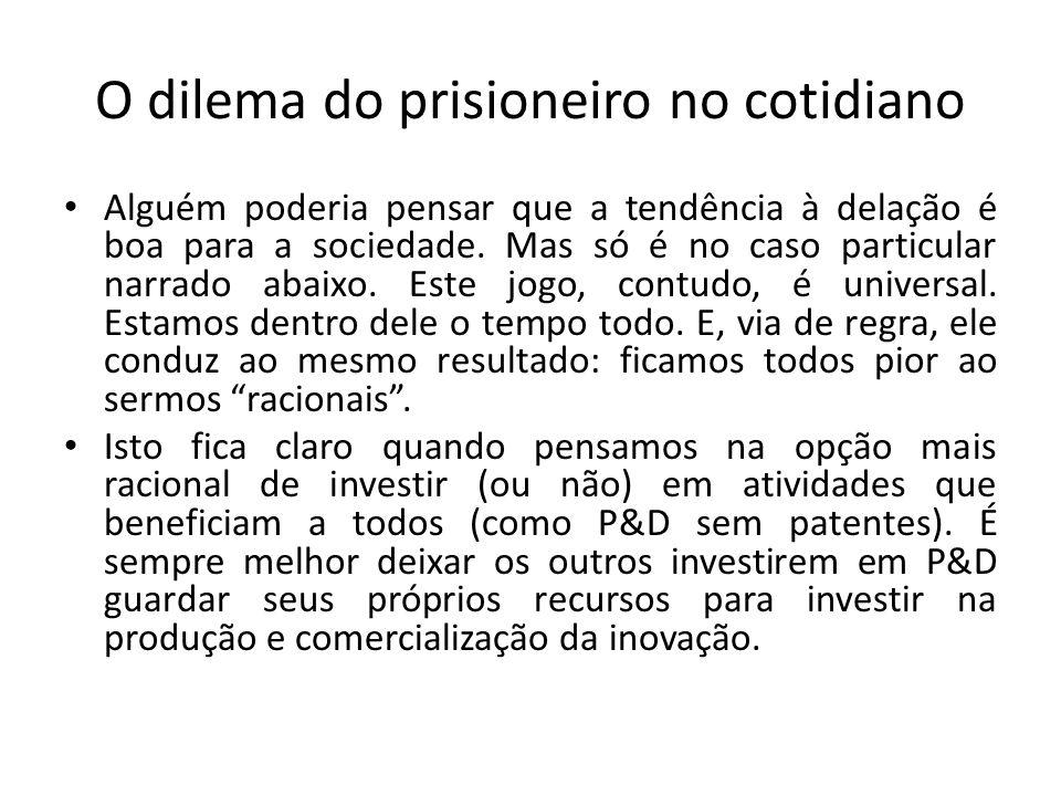 O dilema do prisioneiro no cotidiano • Alguém poderia pensar que a tendência à delação é boa para a sociedade. Mas só é no caso particular narrado aba