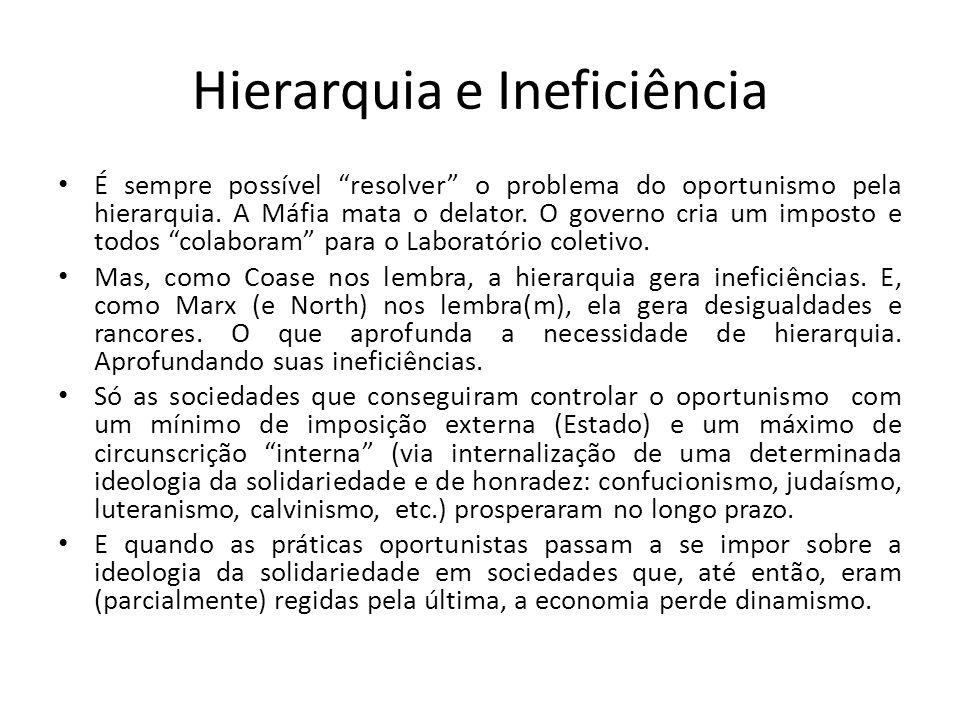"""Hierarquia e Ineficiência • É sempre possível """"resolver"""" o problema do oportunismo pela hierarquia. A Máfia mata o delator. O governo cria um imposto"""