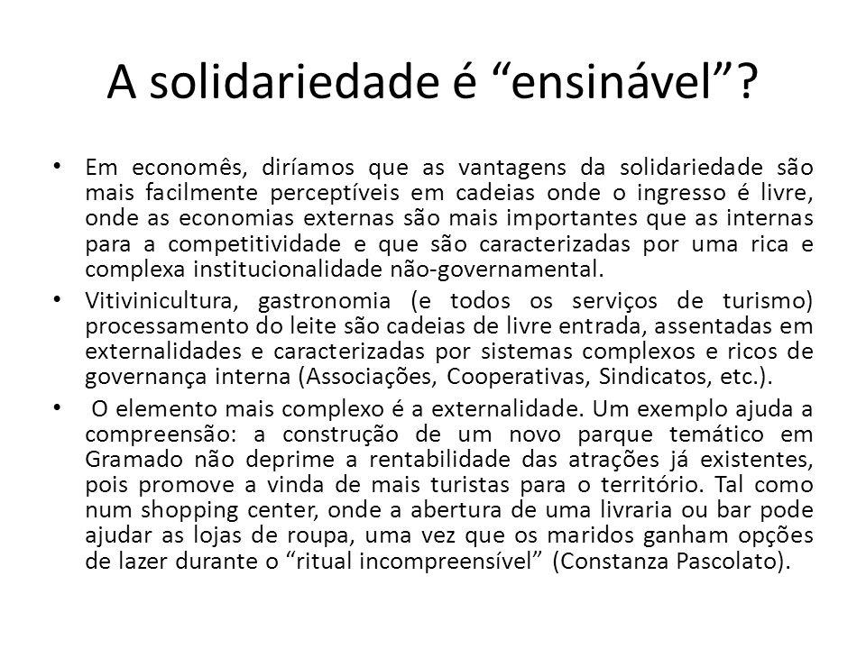 """A solidariedade é """"ensinável""""? • Em economês, diríamos que as vantagens da solidariedade são mais facilmente perceptíveis em cadeias onde o ingresso é"""