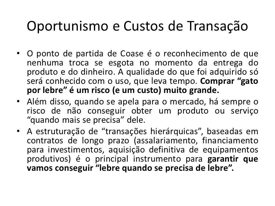 Oportunismo e Custos de Transação • O ponto de partida de Coase é o reconhecimento de que nenhuma troca se esgota no momento da entrega do produto e d