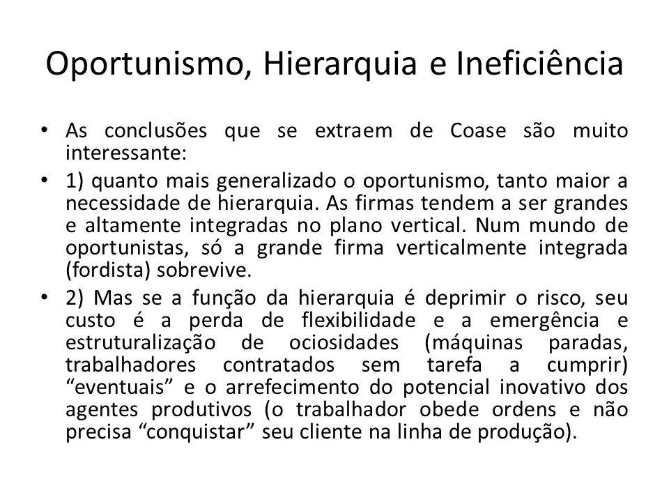 Oportunismo, Hierarquia e Ineficiência • As conclusões que se extraem de Coase são muito interessante: • 1) quanto mais generalizado o oportunismo, ta