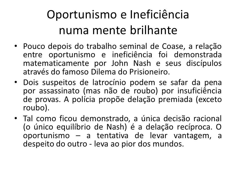 Oportunismo e Ineficiência numa mente brilhante • Pouco depois do trabalho seminal de Coase, a relação entre oportunismo e ineficiência foi demonstrad