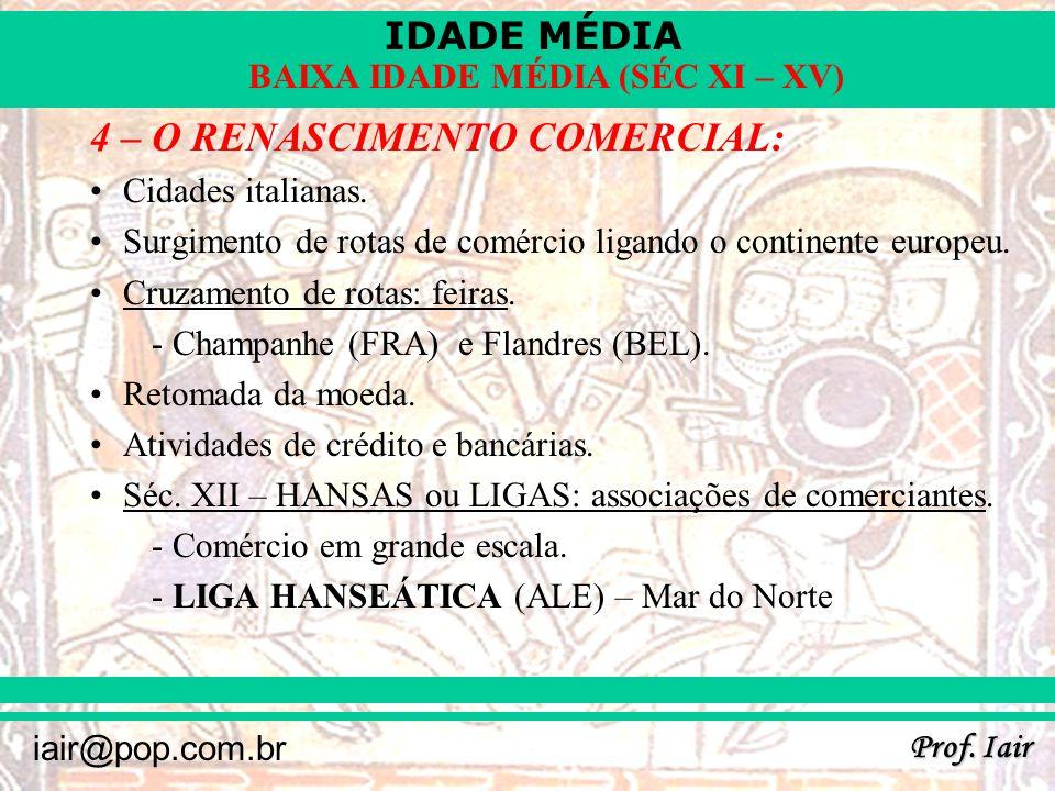 IDADE MÉDIA Prof. Iair iair@pop.com.br BAIXA IDADE MÉDIA (SÉC XI – XV) ROTAS DE COMÉRCIO MEDIEVAIS: