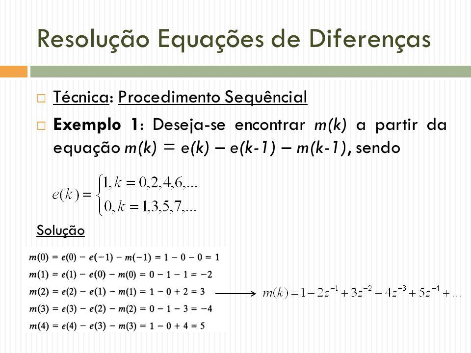 Resolução Equações de Diferenças  Técnica: Procedimento Sequêncial  Exemplo 1: Deseja-se encontrar m(k) a partir da equação m(k) = e(k) – e(k-1) – m