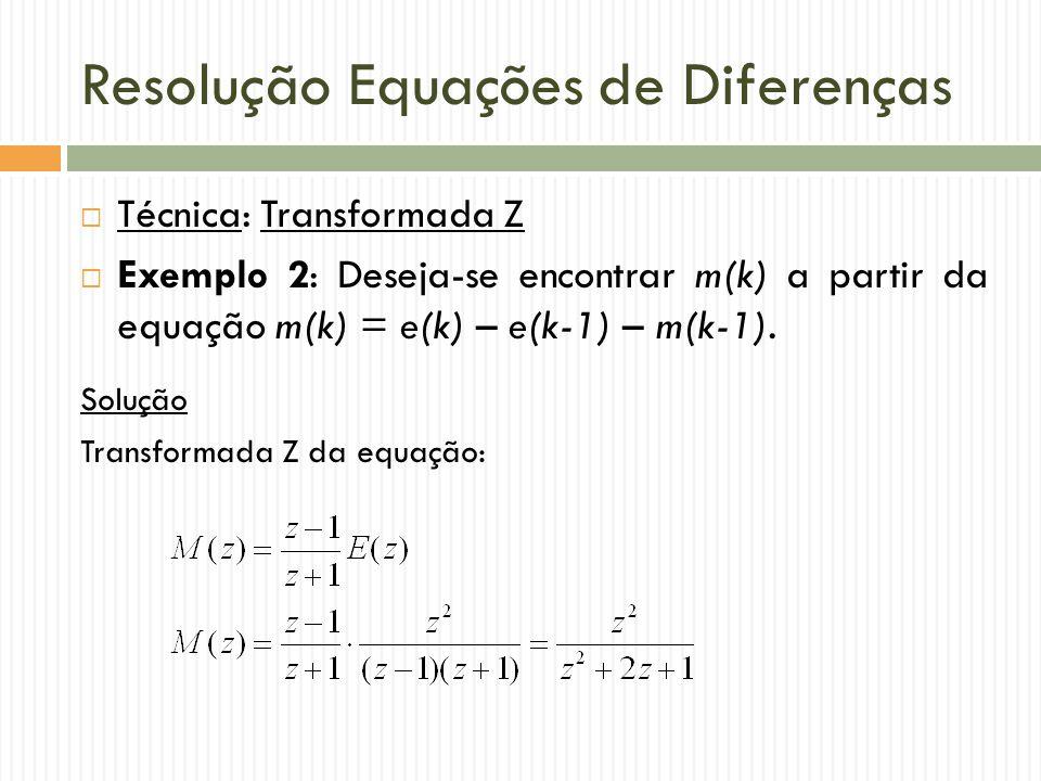 Resolução Equações de Diferenças  Técnica: Transformada Z  Exemplo 2: Deseja-se encontrar m(k) a partir da equação m(k) = e(k) – e(k-1) – m(k-1). So