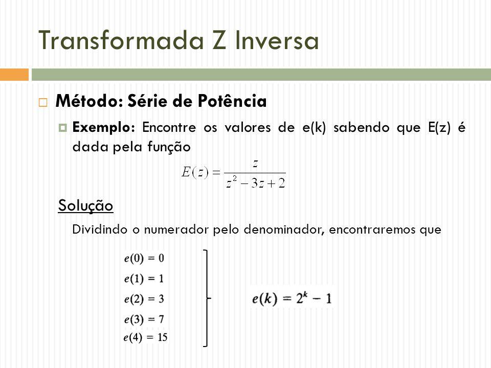 Transformada Z Inversa  Método: Série de Potência  Exemplo: Encontre os valores de e(k) sabendo que E(z) é dada pela função Solução Dividindo o numerador pelo denominador, encontraremos que