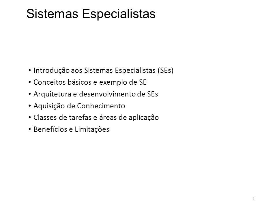 Sistemas Especialistas • Introdução aos Sistemas Especialistas (SEs) • Conceitos básicos e exemplo de SE • Arquitetura e desenvolvimento de SEs • Aqui