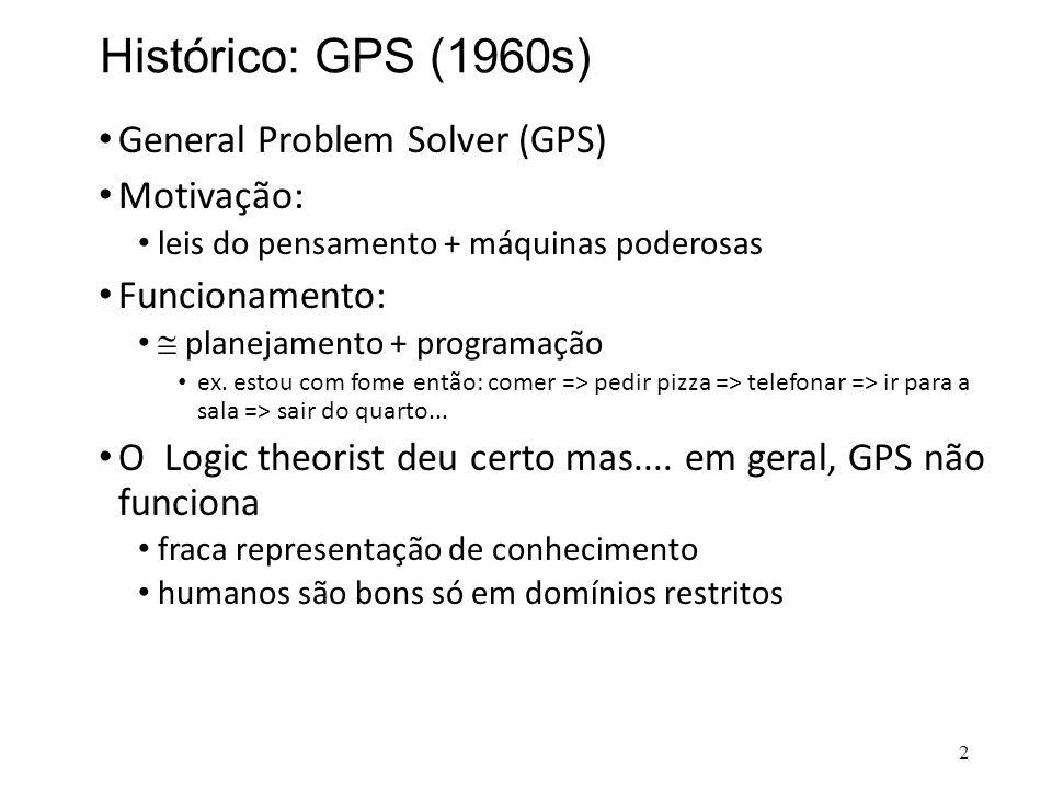 Histórico: GPS (1960s) • General Problem Solver (GPS) • Motivação: • leis do pensamento + máquinas poderosas • Funcionamento: •  planejamento + progr
