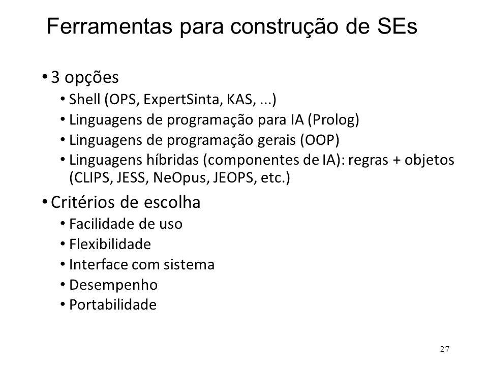 Ferramentas para construção de SEs • 3 opções • Shell (OPS, ExpertSinta, KAS,...) • Linguagens de programação para IA (Prolog) • Linguagens de program