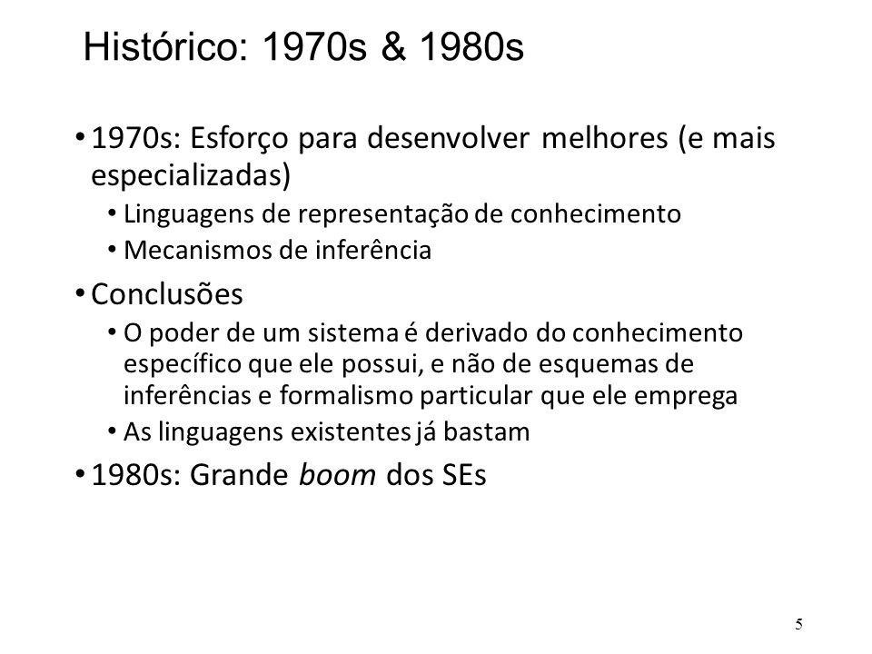 Histórico: 1970s & 1980s • 1970s: Esforço para desenvolver melhores (e mais especializadas) • Linguagens de representação de conhecimento • Mecanismos
