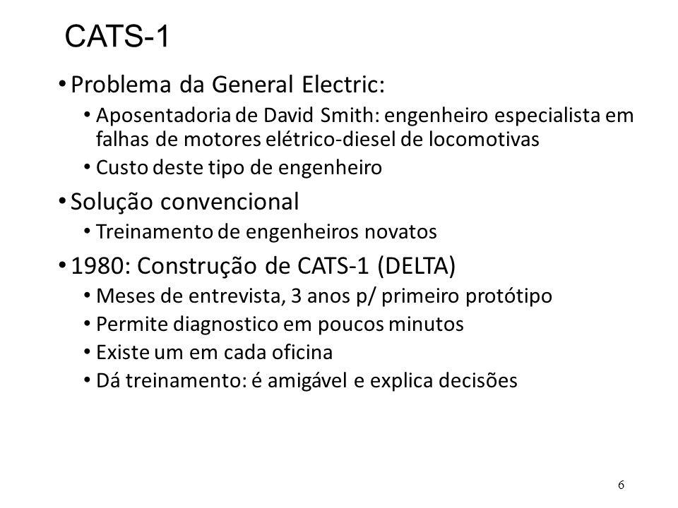 CATS-1 • Problema da General Electric: • Aposentadoria de David Smith: engenheiro especialista em falhas de motores elétrico-diesel de locomotivas • C