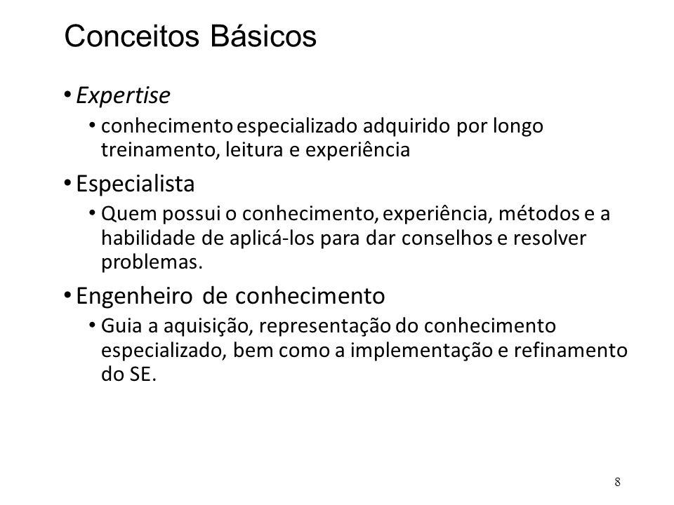Conceitos Básicos • Expertise • conhecimento especializado adquirido por longo treinamento, leitura e experiência • Especialista • Quem possui o conhe