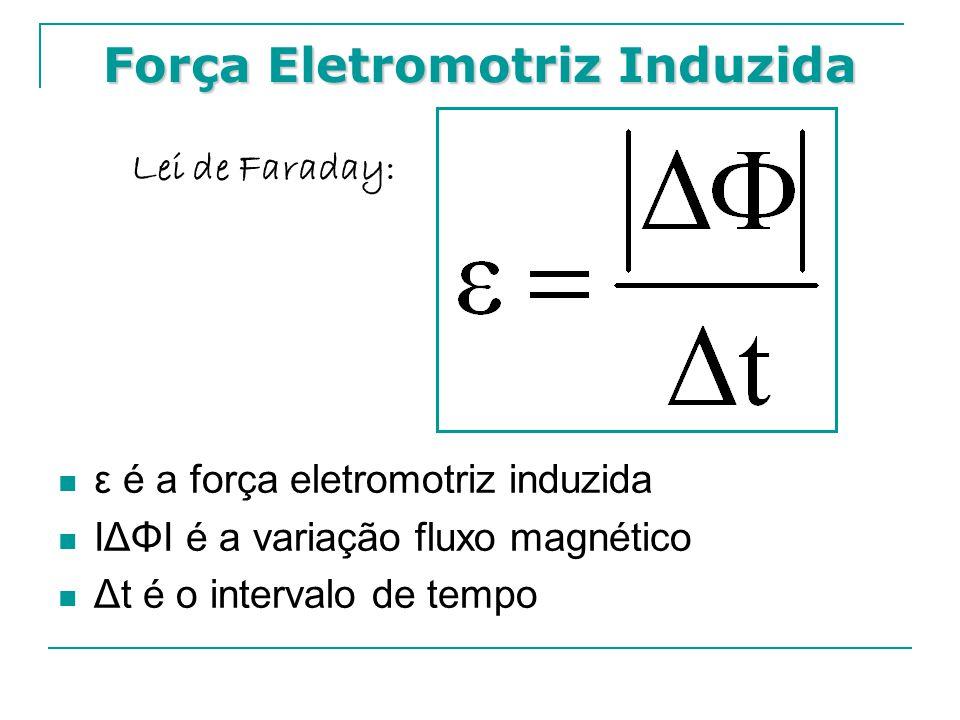 Força Eletromotriz Induzida  ε é a força eletromotriz induzida  IΔΦI é a variação fluxo magnético  Δt é o intervalo de tempo Lei de Faraday: