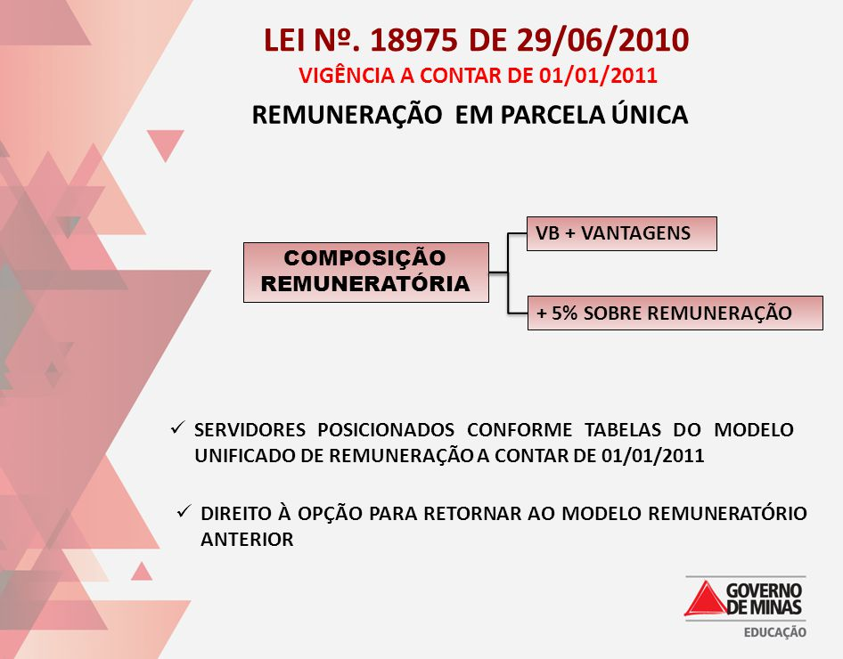 LEI Nº. 18975 DE 29/06/2010 VIGÊNCIA A CONTAR DE 01/01/2011 REMUNERAÇÃO EM PARCELA ÚNICA COMPOSIÇÃO REMUNERATÓRIA VB + VANTAGENS + 5% SOBRE REMUNERAÇÃ