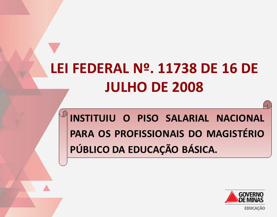 LEI FEDERAL Nº. 11738 DE 16 DE JULHO DE 2008 INSTITUIU O PISO SALARIAL NACIONAL PARA OS PROFISSIONAIS DO MAGISTÉRIO PÚBLICO DA EDUCAÇÃO BÁSICA.