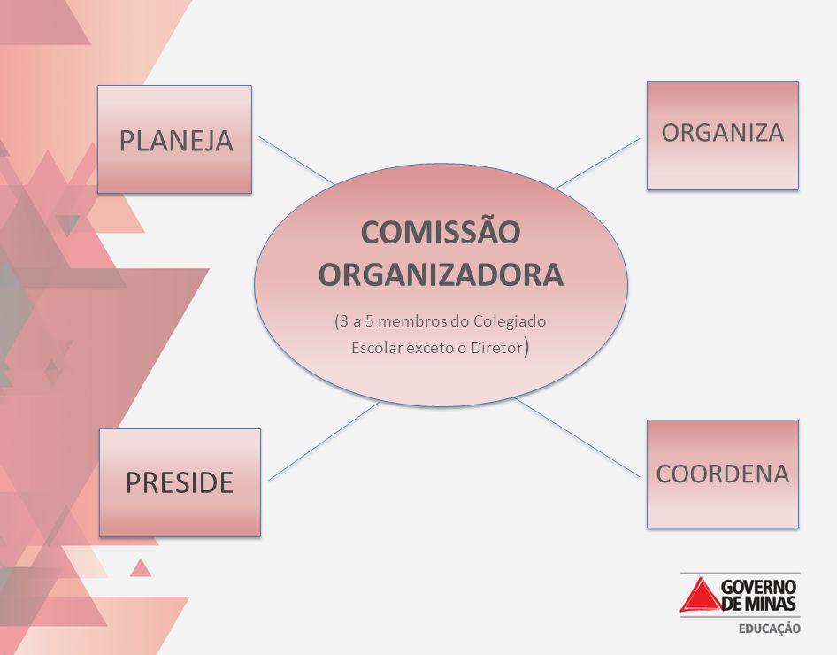 PRESIDE PLANEJA COORDENA ORGANIZA COMISSÃO ORGANIZADORA (3 a 5 membros do Colegiado Escolar exceto o Diretor ) COMISSÃO ORGANIZADORA (3 a 5 membros do