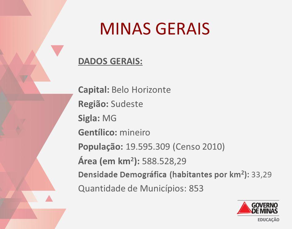 MINAS GERAIS DADOS GERAIS: Capital: Belo Horizonte Região: Sudeste Sigla: MG Gentílico: mineiro População: 19.595.309 (Censo 2010) Área (em km 2 ): 58
