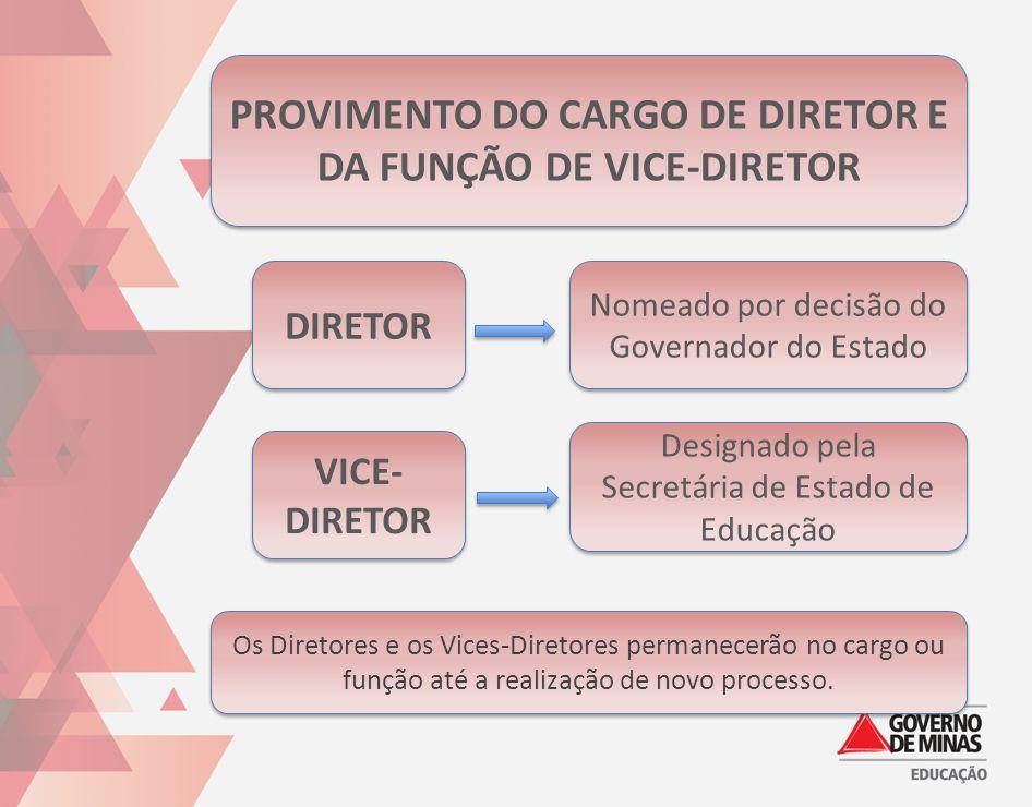 PROVIMENTO DO CARGO DE DIRETOR E DA FUNÇÃO DE VICE-DIRETOR DIRETOR VICE- DIRETOR Nomeado por decisão do Governador do Estado Designado pela Secretária
