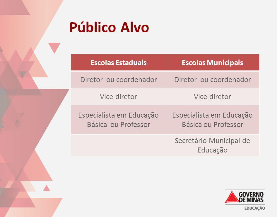 Público Alvo Escolas EstaduaisEscolas Municipais Diretor ou coordenador Vice-diretor Especialista em Educação Básica ou Professor Secretário Municipal