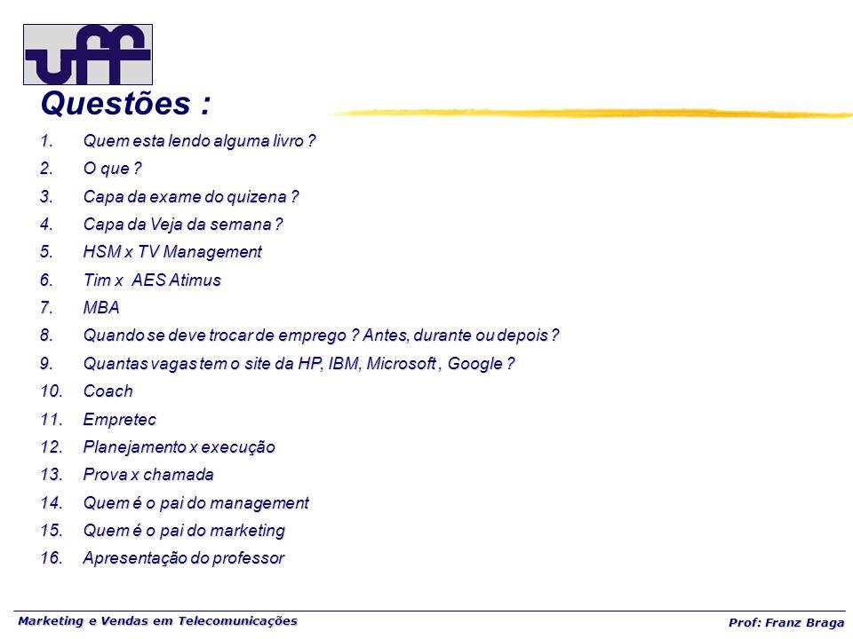 Marketing e Vendas em Telecomunicações Prof: Franz Braga Questões : 1.Quem esta lendo alguma livro .